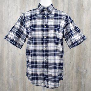 St John's Bay Men's Blue Plaid Button Down Shirt